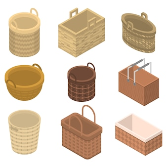 Icônes en osier, style isométrique