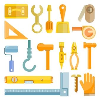 Icônes d'outil de construction et de charpentier