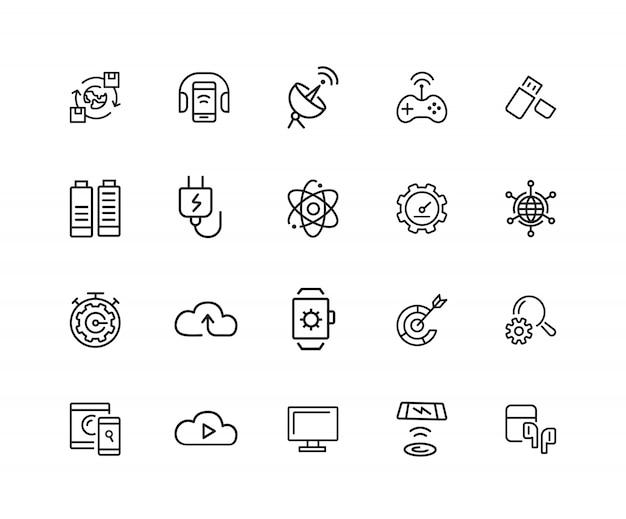 Icônes d'ouvertures. ensemble de vingt icônes de ligne. réseau, téléphone avec casque, navigateur.
