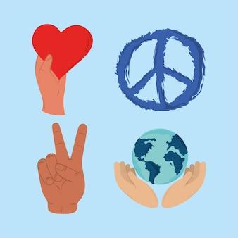 Icônes paix et amour