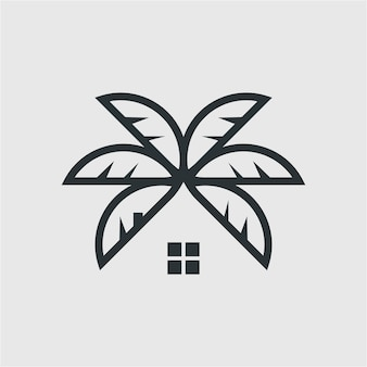 Icônes de palmier sur des éléments de fond blanc pour l'illustration de menu de signe d'emblème d'étiquette de logo