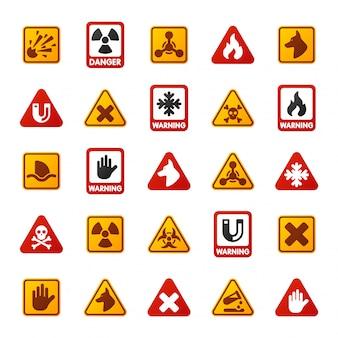 Icônes de panneau d'avertissement attention danger