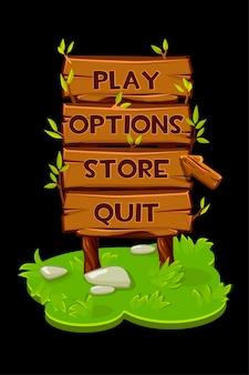Icônes de panneau en bois, bannière avec flèche pour le jeu.