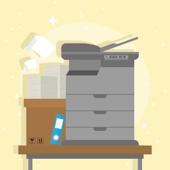 Icônes de paperasse de documents de photocopieur et de boîte