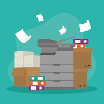 Icônes de papier de photocopieur et de boîtes