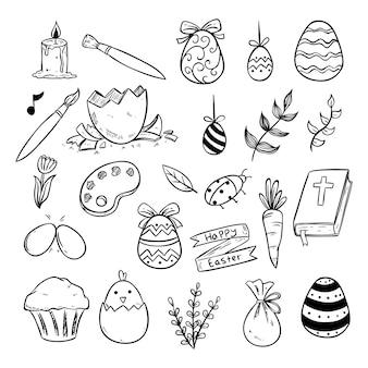 Icônes de pâques ou éléments avec style dessiné ou croquis à la main