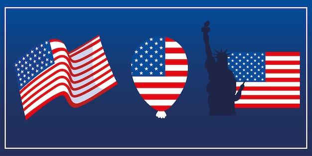 Icônes de patriotisme de ballon de drapeau américain