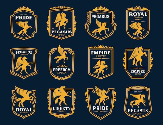 Icônes de pegasus. symboles de chevaux ailés héraldiques.