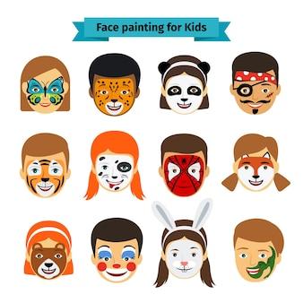 Icônes de peinture de visage. visages d'enfants avec des animaux et des héros peignant. illustration