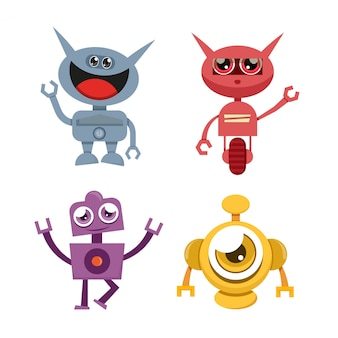 Icônes de personnage de robot drôle