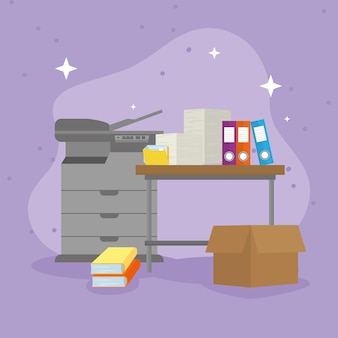Icônes de photocopieur et fichiers paperasse