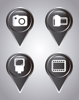 Icônes de la photographie au cours de l'illustration vectorielle fond gris