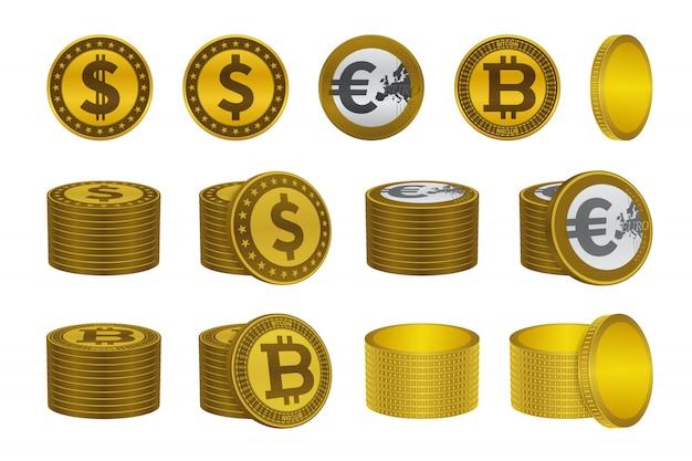 Icônes de la pièce d'or bitcoin dollar euro
