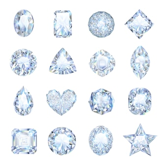 Icônes de pierres précieuses réalistes sertie de forme différente isolée