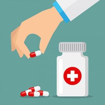 Icônes de pilules rouge et blanc