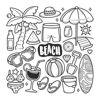 Icônes de plage doodle dessiné à la main à colorier