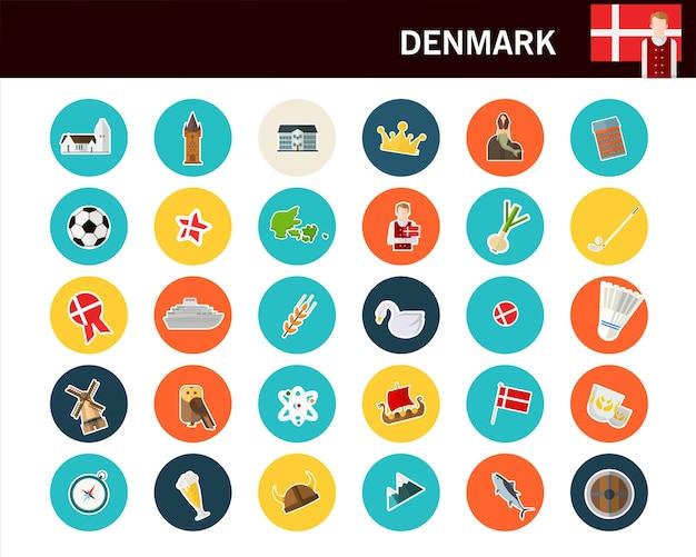 Icônes plat concept danemark
