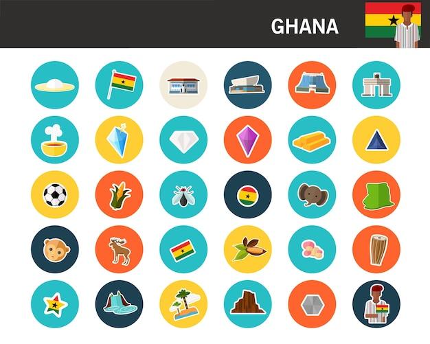 Icônes Plat Concept Ghana Vecteur Premium