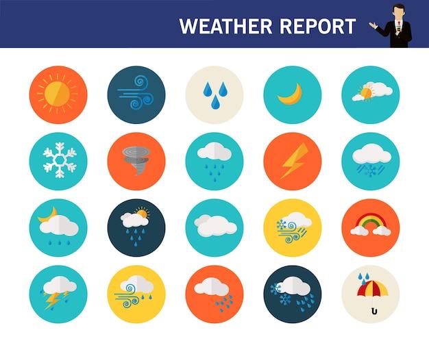 Icônes de plat concept météo rapport.