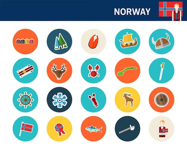 Icônes plat concept norvège