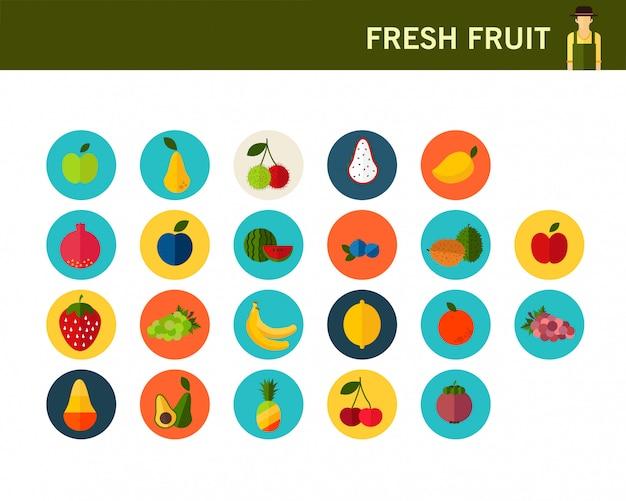 Icônes de plat de fruits frais consept.