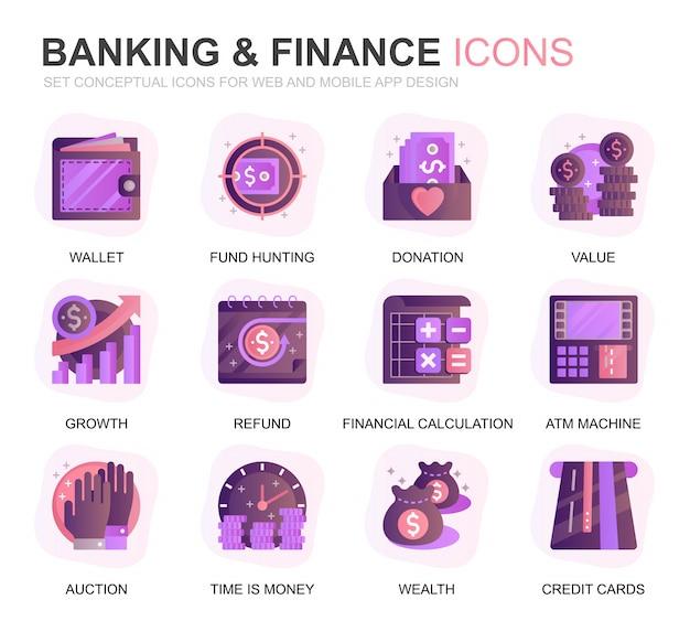 Icônes plat gradient set bancaire moderne et finances