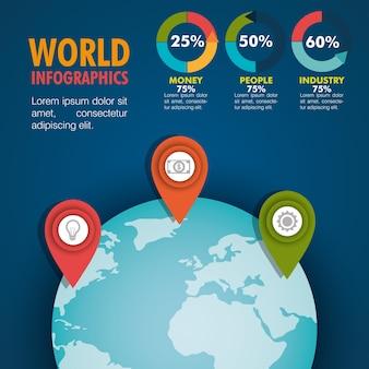 Icônes de plat infographique du monde
