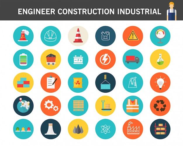 Icônes de plat de l'ingénieur de construction industrail consept.