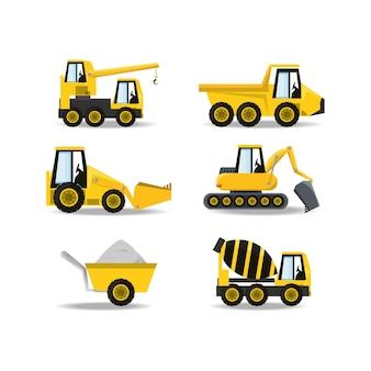 Icônes de plat sous le camion de construction