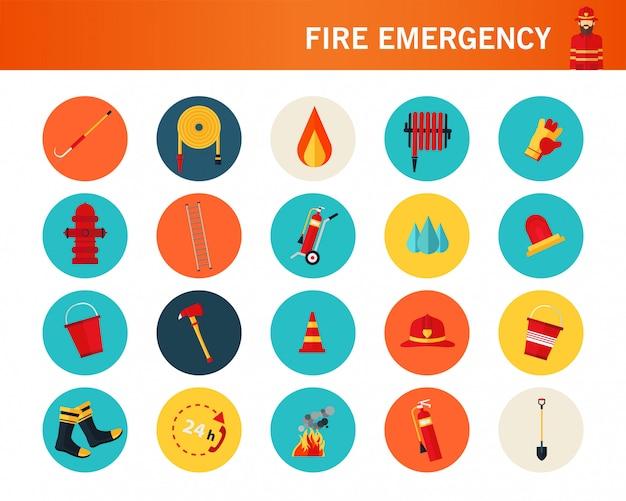 Icônes à plat d'urgence d'incendie.