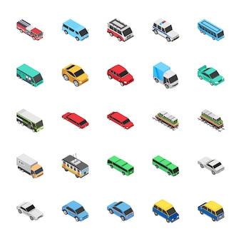 Icônes plates d'automobile