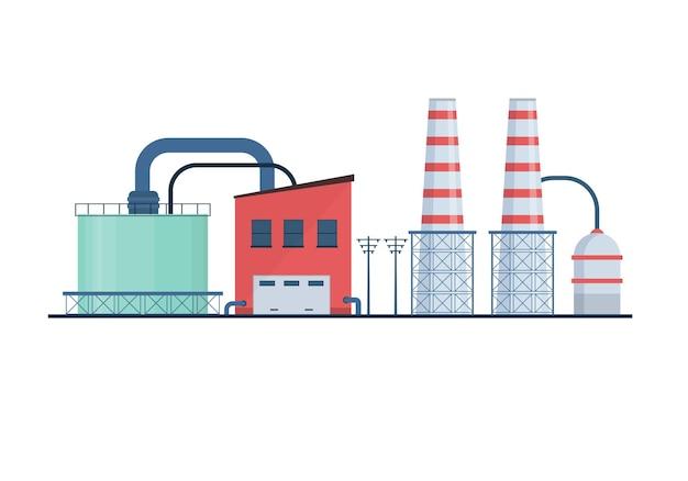 Les icônes plates des bâtiments de l'électricité de l'usine de l'industrie de l'industrie de l'usine définissent des centrales nucléaires