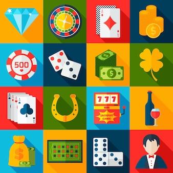 Icônes plates de casino