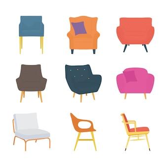 Icônes plates de chaises simples