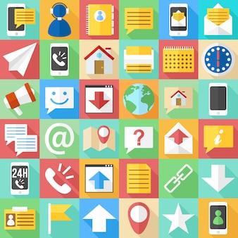 Icônes plates de communication. affaires et assistance web clip art.