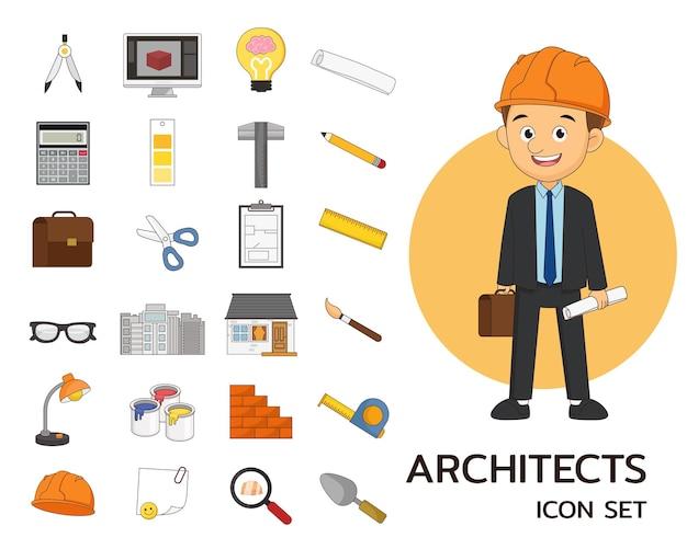 Icônes plates de concept d'architectes