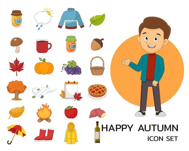 Icônes plates de concept automne heureux
