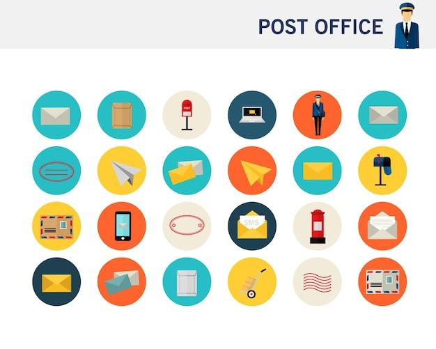 Icônes plates de concept de bureau de poste.