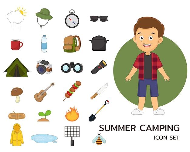 Icônes plates de concept de camping d'été