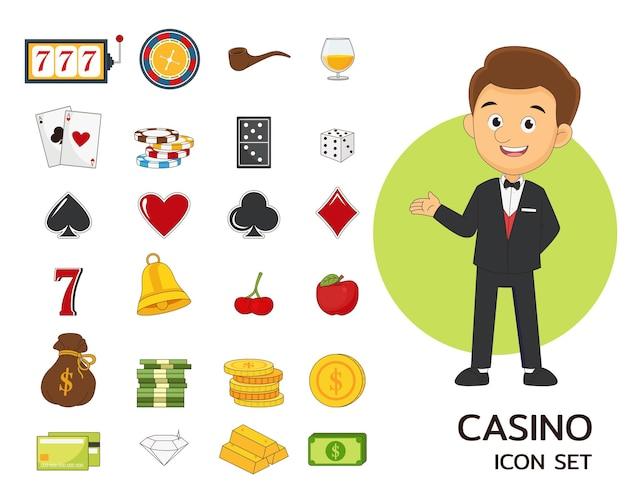Icônes plates de concept de casino.