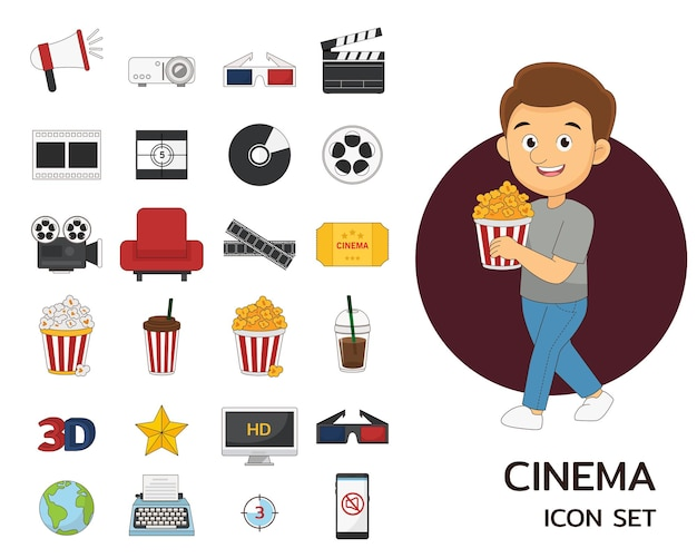 Icônes plates de concept de cinéma