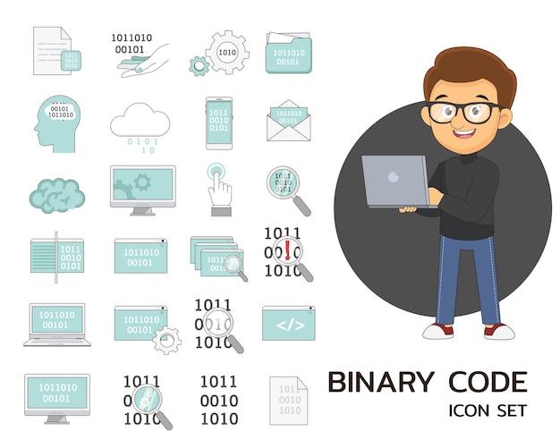 Icônes plates de concept de code binaire