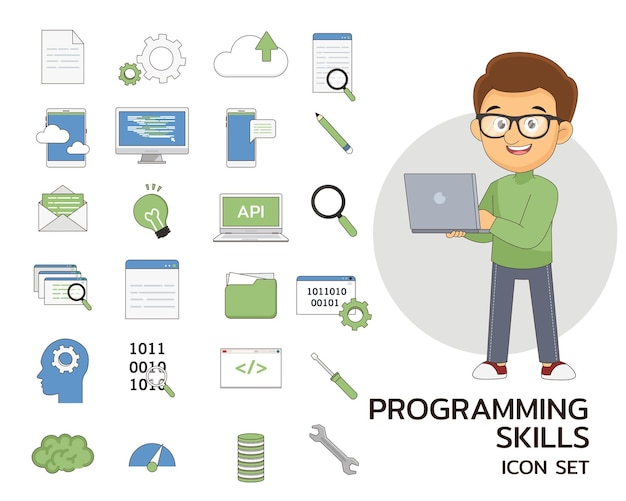 Icônes plates de concept de compétences de programmation