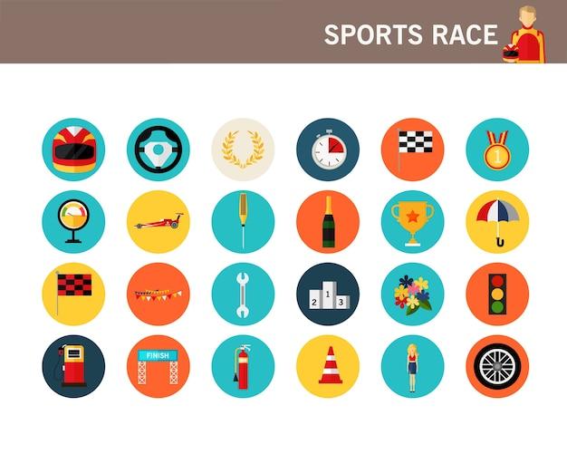 Icônes plates de concept de course de sport.