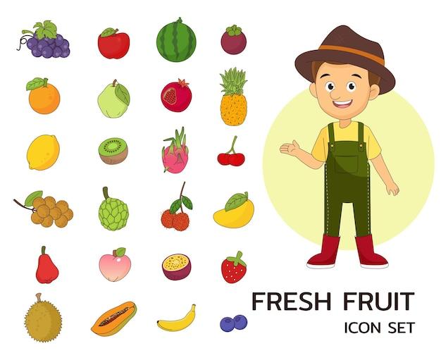 Icônes plates de concept de fruits frais