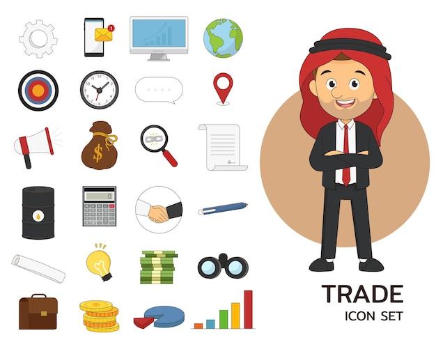Icônes plates de concept de jeu de commerce