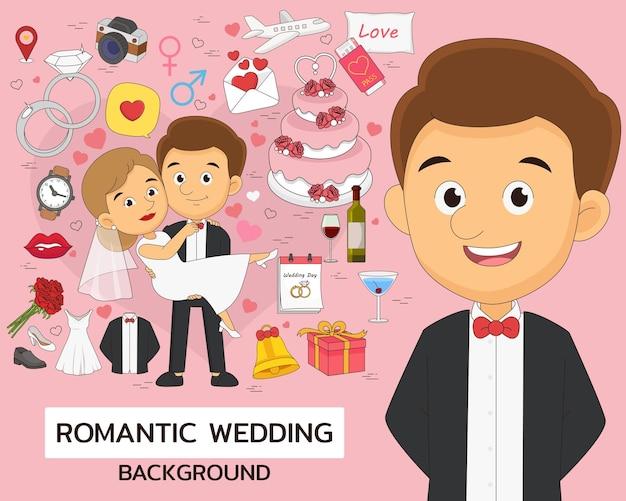 Icônes plates de concept de mariage romantique