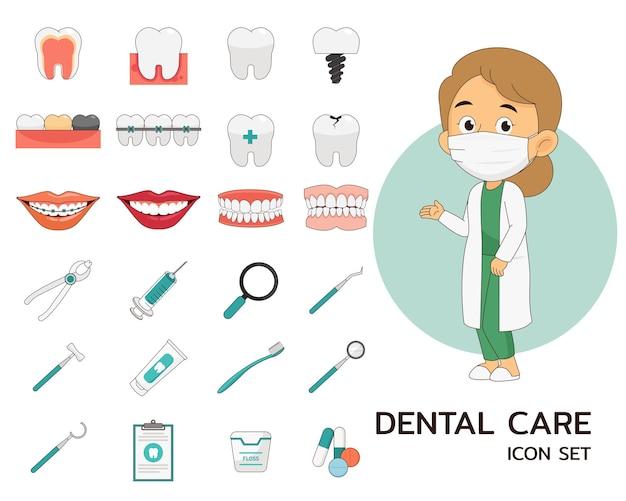 Icônes plates de concept de soins dentaires.