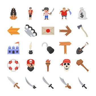 Icônes plates de costumes de pirate