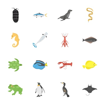 Icônes plates de créature de haute mer